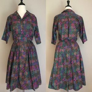 Vintage Full Skirt Dress Size Small